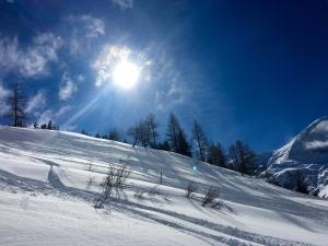 Sonnenschein, blauer Himmel und Schneelandschaft